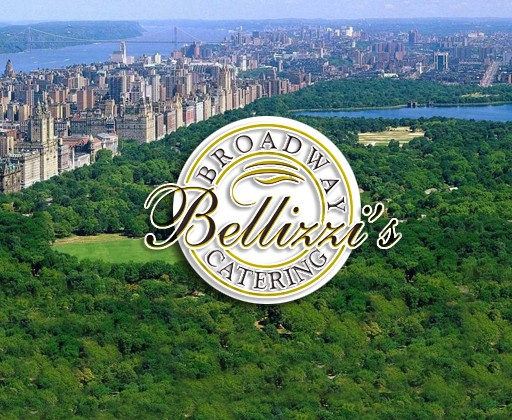 Bellizzi's Broadway Catering logo over Central Park